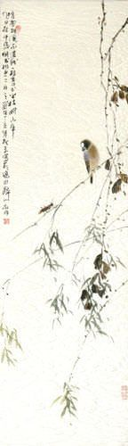 Bird and Grasshopper on a Branch - Chinese Wall Scroll close up view