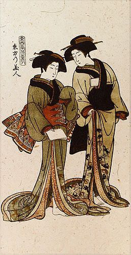 Beauties of the East - Japanese Woodblock Print Repro - Wall Scroll close up view