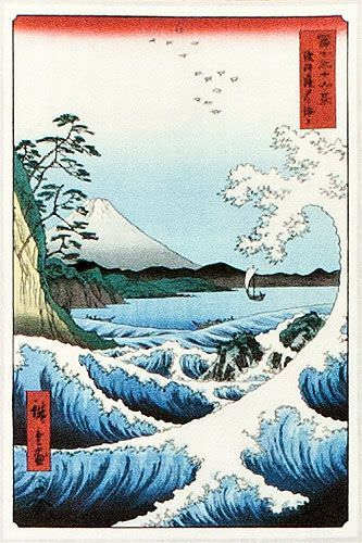 Japanese Wave Woodblock Print Wall Scroll close up view