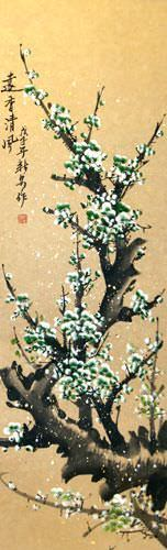 Green Plum Blossoms Wall Scroll close up view