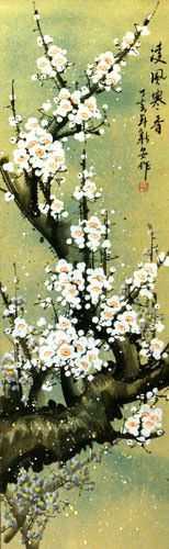 White Plum Blossom Chinese Wall Scroll close up view