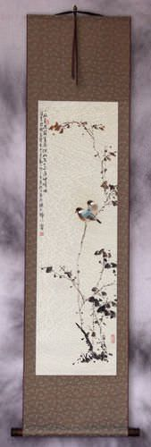 Birds on a Branch - Bird and Flower Oriental Wall Scroll