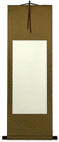 Blank White/Gold Asian Wall Scroll