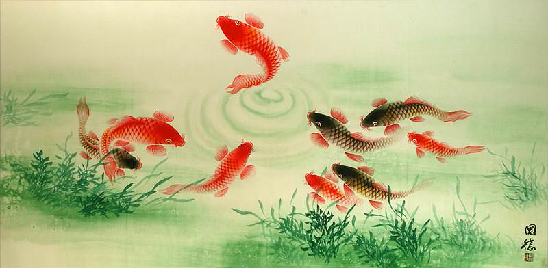 "See how ""Koi Fish Feeding - Chinese Painting"" would look after being professionally framed"